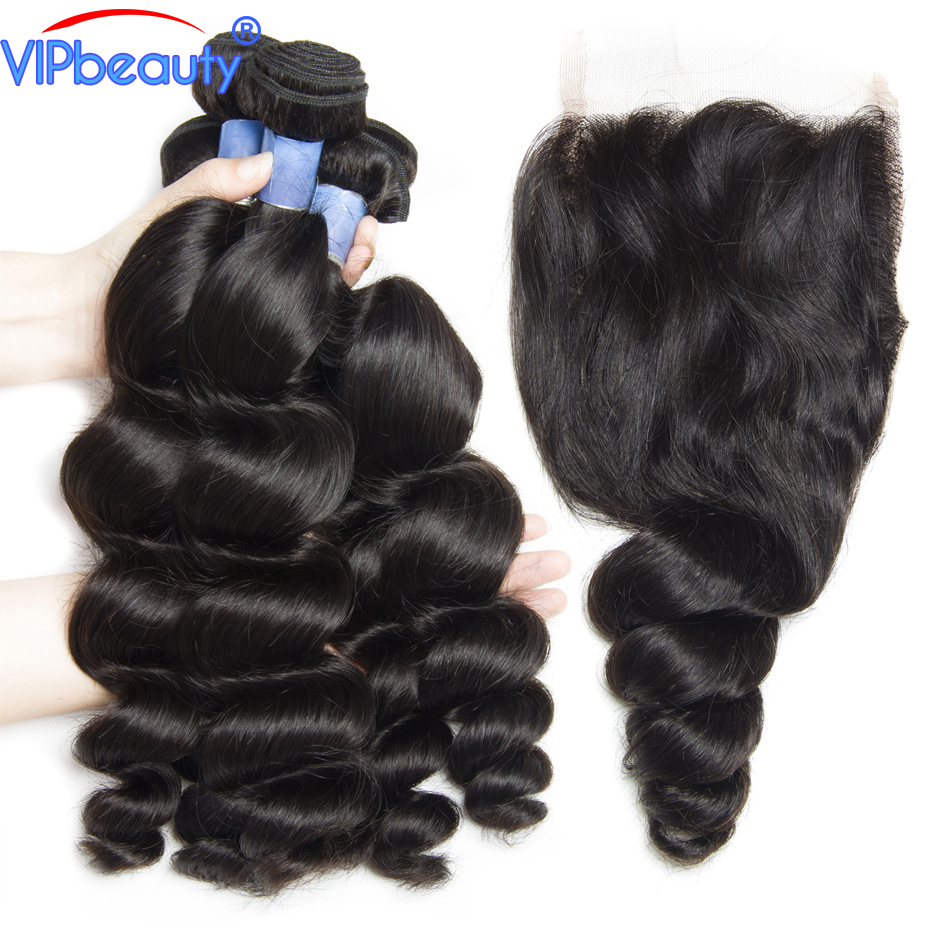 Peruvian loose wave 3 bundles with closure Vip beauty human hair bundles with closure remy hair