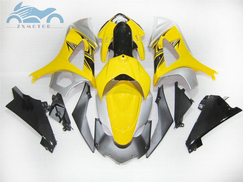 Full set Motorcycle Fairing <font><b>kits</b></font> for <font><b>Suzuki</b></font> GSXR 1000 <font><b>GSXR1000</b></font> 2007 2008 K7 <font><b>K8</b></font> ABS plastic fairings <font><b>kit</b></font> 07 08 yellow silver image