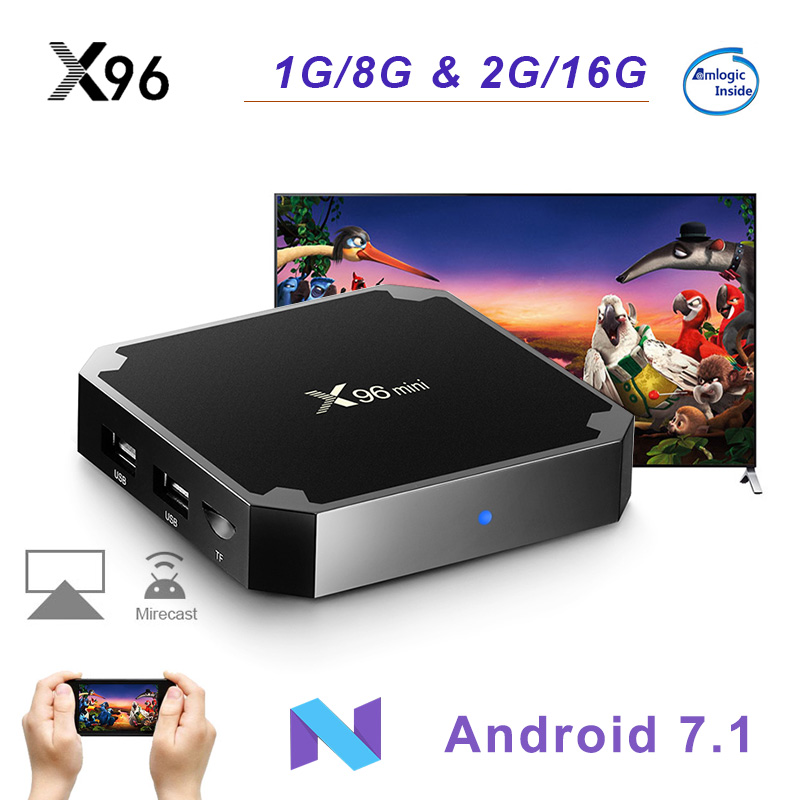 X96 mini Android 7,1 Smart TV caja Amlogic S905W WiFi Quad Core 2,4 GHz X96mini Set top BOX 4 K HD Set-top Box reproductor de medios
