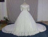 Vestido De Noiva New Design Ball Gown Wedding Dress 2018 Lace Bride Dress Royal Train Vintage