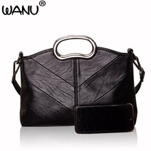 WANU sheepskin leather casual clutch women messenger bags fashion female shoulder bag day clutches evening totes gift for mother