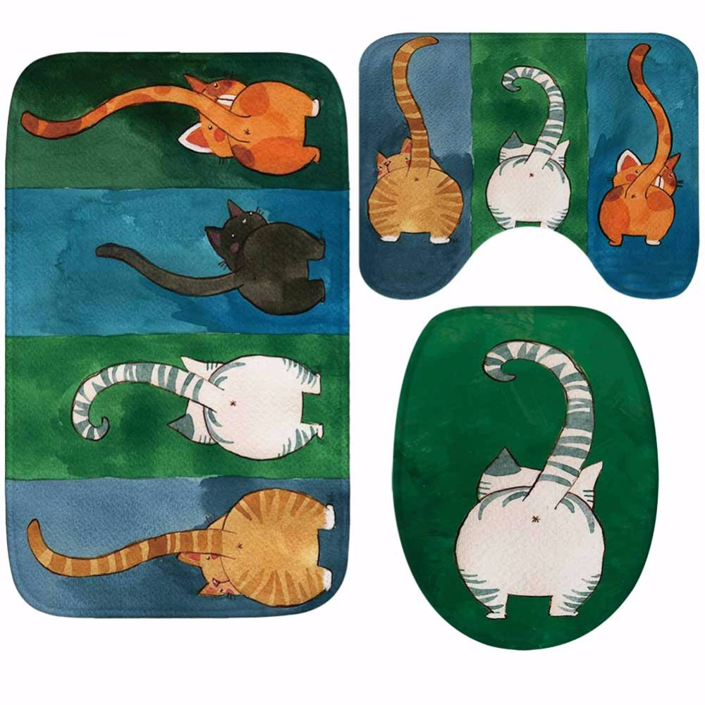 Image 2 - CAMMITEVER 3PCS/Set Cute Cats Shower Bath Mat Toilet Lid Cover Non Slip Mat Carpet Water Absorbent-in Rug from Home & Garden