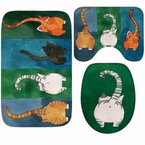 Image 2 - CAMMITEVER 3PCS/Set Cute Cats Shower Bath Mat Toilet Lid Cover Non Slip Mat Carpet Water Absorbent