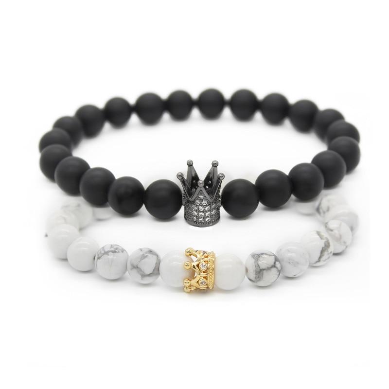 Poshfeel 2 unids/set pareja pulseras para los amantes corona reina encanto piedra Cuentas pulseras para mujeres y hombres regalo de joyería