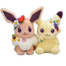 20CM New Authentic Japan anime game Eievui's Pikachu&Easter Eevee Plush Doll Stuffed Toy Beanie Boos Plush Doll цена
