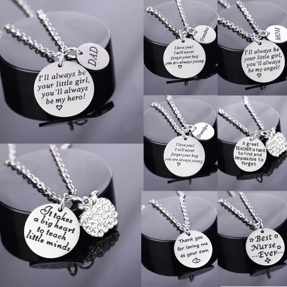 Love Dad Mom Grandma Grandpa Necklaces Stainless Steel Pendant Mothers Fathers Teachers Day Gifts Necklace Family Jewelry Collar
