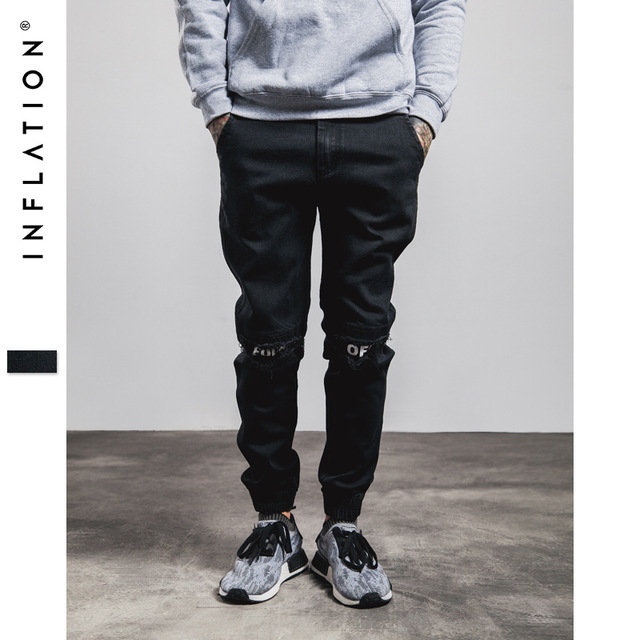 INFLATION New Ripped Frayed Pants For Men Skinny Destroyed Famous Hip Hop Black Men Joggers Pants Casual High Street Pant 233W16 2