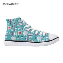 Twoheartsgirl Cool Dentist Pattern High Top Vászon cipő Női cipők női alkalmi női Vulkanizáló cipő klasszikus női lakások