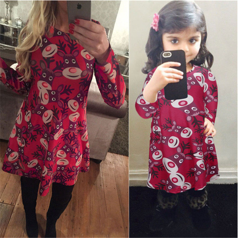 Plus size high quality Family Matching Outfits Mother Daughter Dresses Christmas Party Dress Long Sleeves Print Deer Xmas Dress