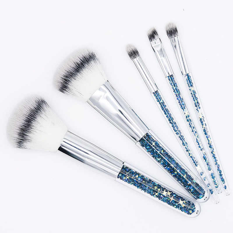 New 5pcs Blue Gold Diamond Unicorn Crystal Makeup Brushes Set Shinny Foundation Blending Face Brush Makeup Tool maquillaje