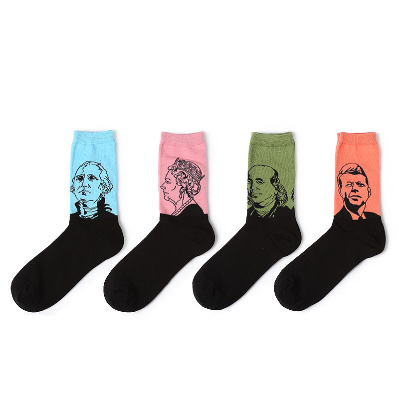 2018 New Arrivals men socks High ankle cotton Comfortable sock British sytle fashions funny cartoon Portrait happy socks
