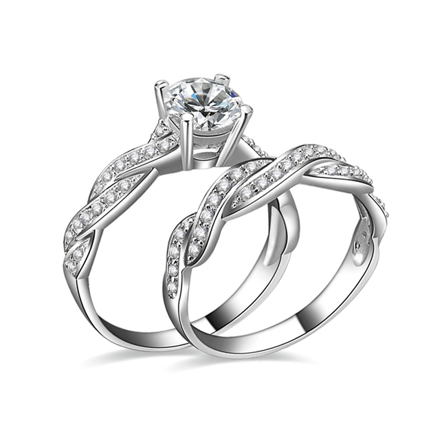 Infinity Love Cubic Zirconia Diamond Engagement Wedding Ring Sets