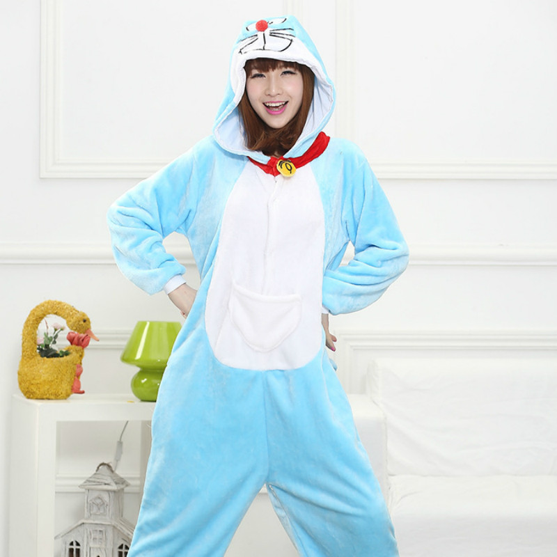 Doraemon cat pajamas women Onesise for adults Flannel Animal pajamas cat sleepwear femmei/mujer pijamas enteros de animales