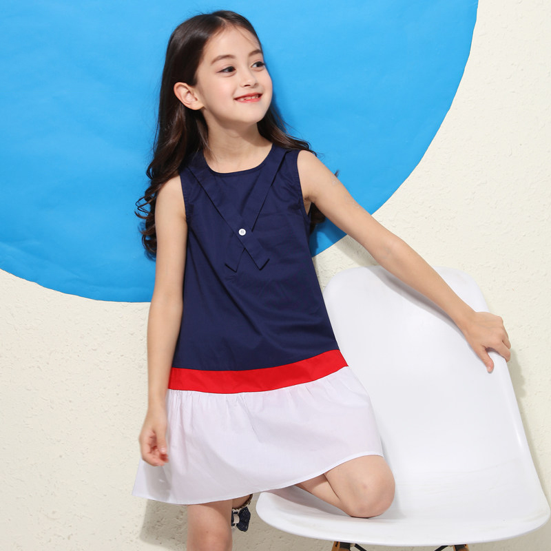 2018 Dress for Girls Navy Red White Stripe Salior 4th July Design Teenage Baby Kids Uniform Dress 56789 10 11 12 13 14 Years Old