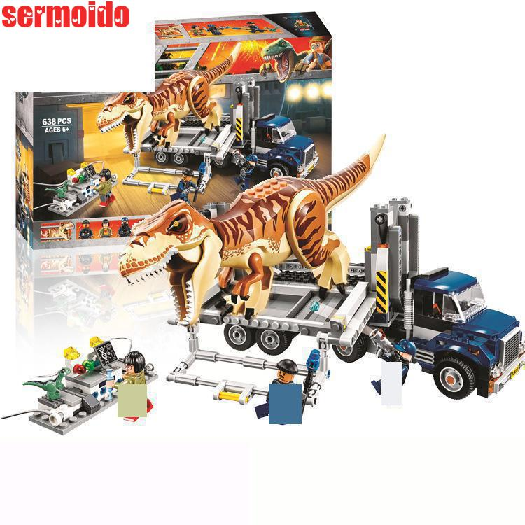 цена 10927 638pcs Jurassic World Tyrannosaurus Rex Transport Bela Building Block Compatible 75933 Brick Toy