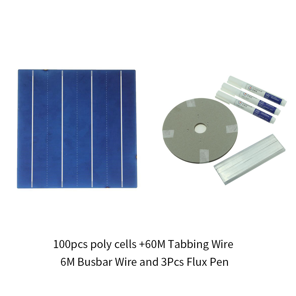 100Pcs Polycrystall Solar Cell 6x6 With 120M Tabbing Wire 10M Busbar Wire and 5Pcs Flux Pen diy solar panel 270w 100pcs monocrystall solar cell 5x5 with 60m tabbing wire 6m busbar wire and 3pcs flux pen