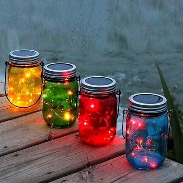 1pc solar mason jar colorful glass jars with fairy light color changing light for garden decor