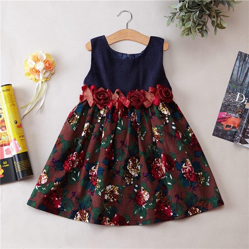 Early Spring Girls  Autumn Clothing Corduroy Children Dress Sleeveless Printing Girl Dress  Baby Princess  flower dress