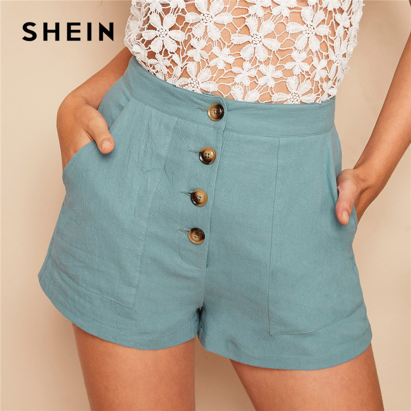 SHEIN Casual Pastel Blue Button Fly Patch Pocket Straight Leg   Shorts   Women Summer Mid Waist Solid 2019 Streetwear   Shorts