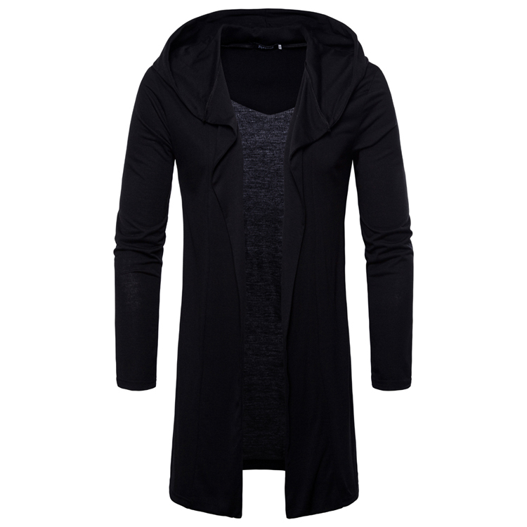 New Spring 2018 Hoodie Solid Color Cardigan Long Hoodies Men Fashion Tracksuit Male Swea ...