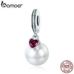 BAMOER Genuine 925 Sterling Silver Elegant Pearl Heart CZ Pendant Charms Fit Bracelets & Necklaces Chain Fine Jewelry SCC782