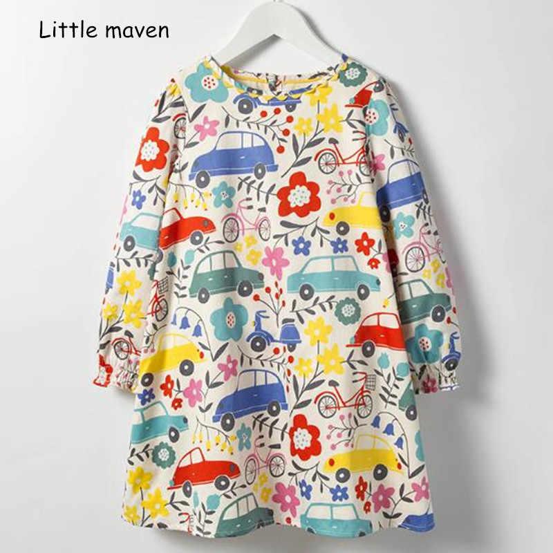 029430f17d305 Little maven kids brand 2018 autumn new design children's dress baby girls  clothes Cotton car flower