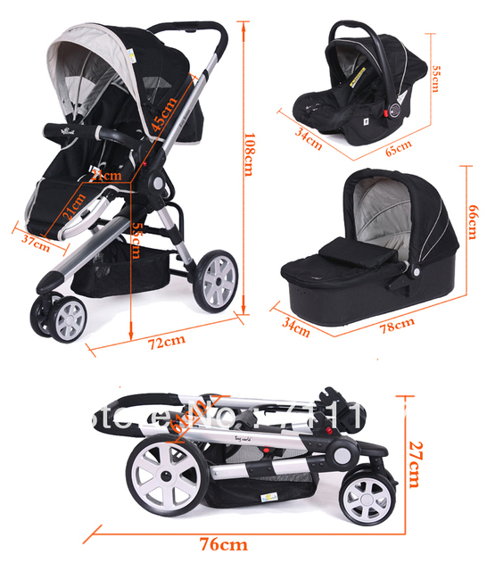 Domestic Luxury 3 In 1 Baby Car Trolley With Baby Crib&Baby Car Seat