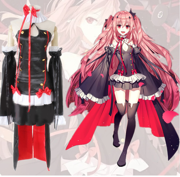 Anime Owari no Seraph Krul Tepes Cosplay Costume Women Third Ancestor Vampire Black Sexy Carnaval Costume