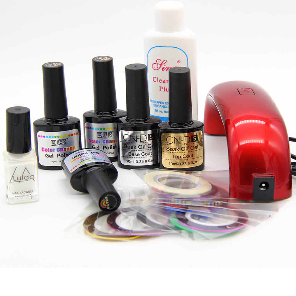 simple gel nail set with 9w uv lamp 3 color temperature gel nail base gel top coat polish with