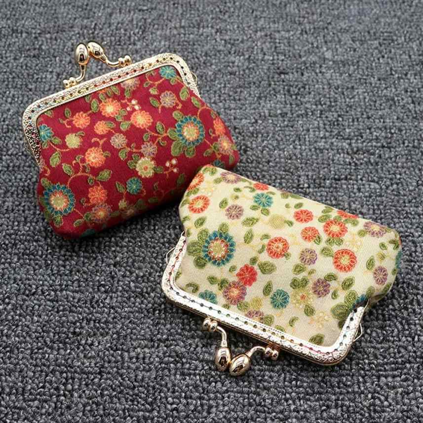 Naivetyミニコイン財布花印刷小銭入れ小さな掛け金綿生地財布ポータブルバッグ30S71214ドロップ無料