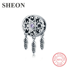 SHEON 100% 925 Sterling Silver Dream Catcher Holder Beads fit Original Pandora Charm Bracelet Necklace DIY Jewelry Christmas sheon 100