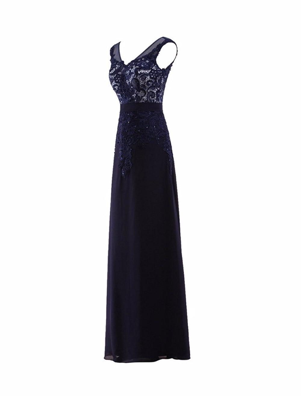 Fashion V Neck Floor length Soluble lace Beaded Chiffon Navy Blue   Bridesmaid     Dresses