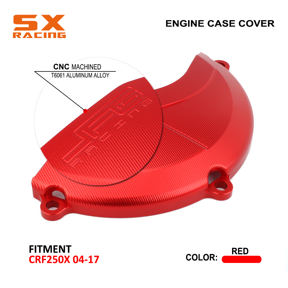 Motorcycle CNC Red Aluminum Right Side Engine Protector Clutch Cover Guard For HONDA CRF250X <font><b>CRF</b></font> <font><b>250X</b></font> <font><b>2004</b></font> 2005 2006 2007-2017 image