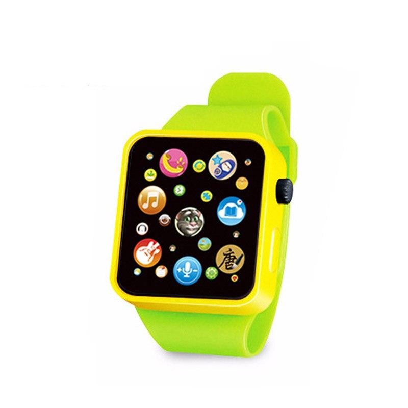 6 цветов, детская игрушка для раннего развития, наручные часы, 3D сенсорный экран, музыка, умное обучение, Лидер продаж, подарки на день рождения - Цвет: GREEN