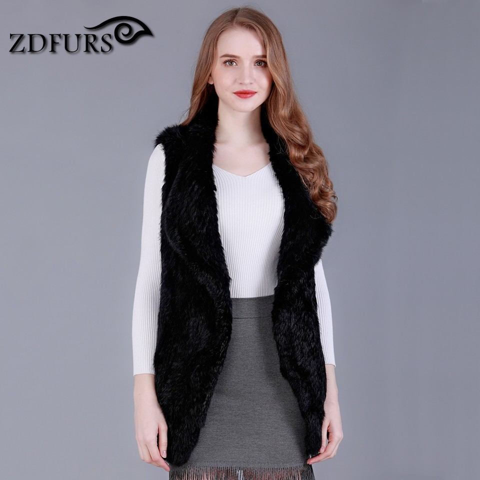 ZDFURS * Fesyen Baru Knit Fur Knit Arnab Asli Rabbit Fur Furly Fur Coat Fur Gilet Hot Sale ZDKR-165013