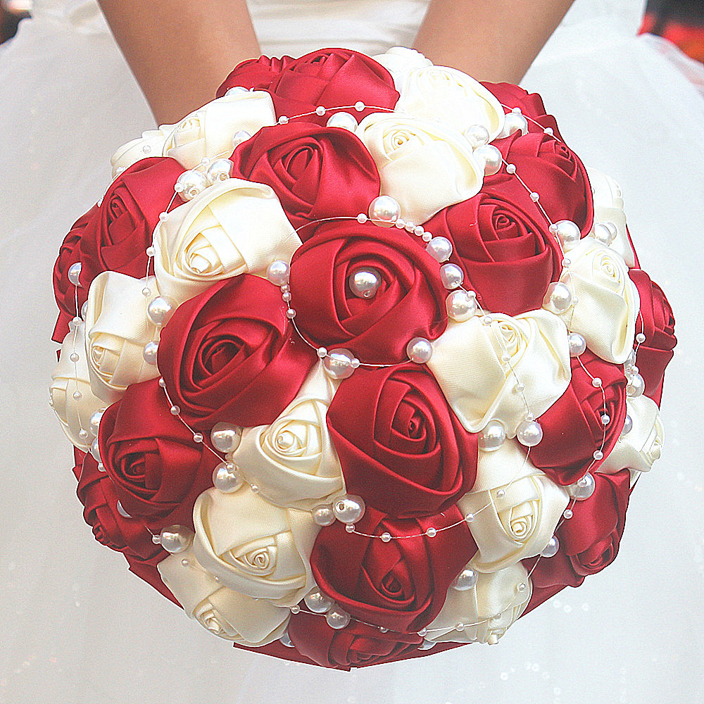 Simple Wine Red Ivory Rose Pearls Hand Holding Bridal Bouquets Rose Flowers Combinations Ribbon Wedding Bouquet Customized W262
