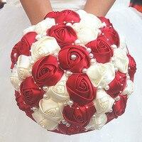 Simples Vinho Tinto Rosa Do Marfim Pérolas Mão Segurando Buquês de Noiva Bouquet Do Casamento Da Fita de Rosa Flores Combinações Personalizadas W262