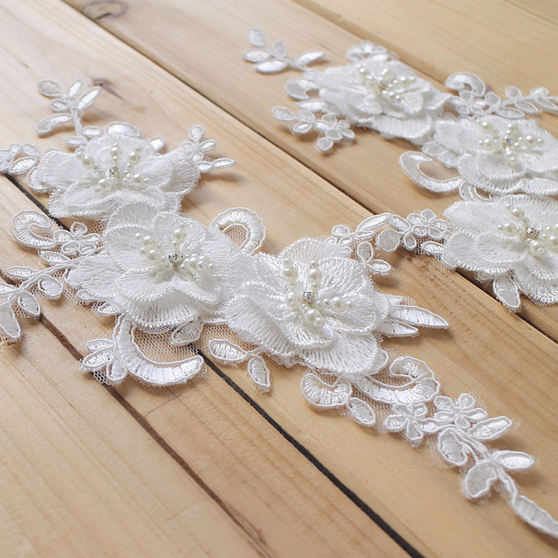 10Pcs Lace Applique Beaded French Chantilly Lace Patch Fabric Handmade 3D Bridal DIY Material For Wedding Dress Shoes Decoration in Lace from Home Garden