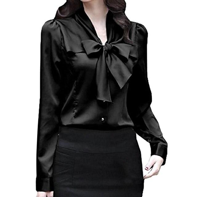44aeb84b 2018 new Satin Shirt Women Long sleeve bow collar silk Solid Blouses women  work wear uniform