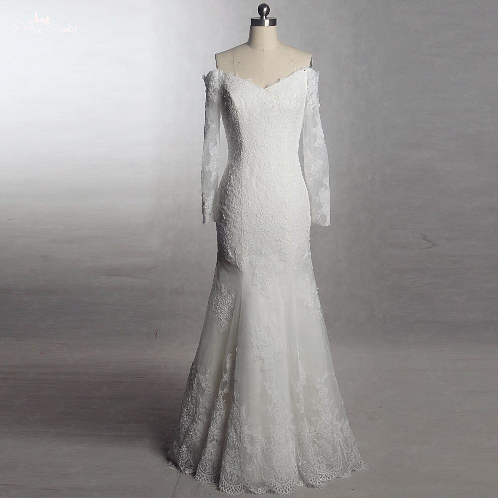 French Lace Mermaid Wedding Dress: RSW1394 Yiaibridal Real Job Photos V Neckline Long Sleeves