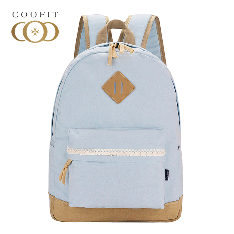 Coofit Design Solid Color School Bagpack For Teenager Girls Casual Lace Canvas Women Backpack Travel Female