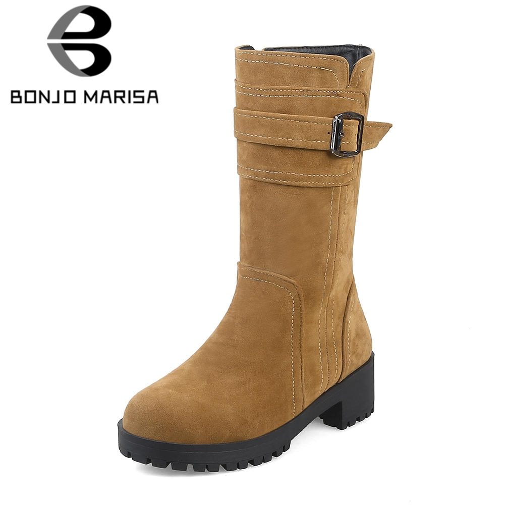 34c44517e04 BONJOMARISA 2019 Winter Big Size 32-43 Elegant Flock mid-calf Boots Women  Sewing Platform Shoes Woman Med Wide Heels Women Boots