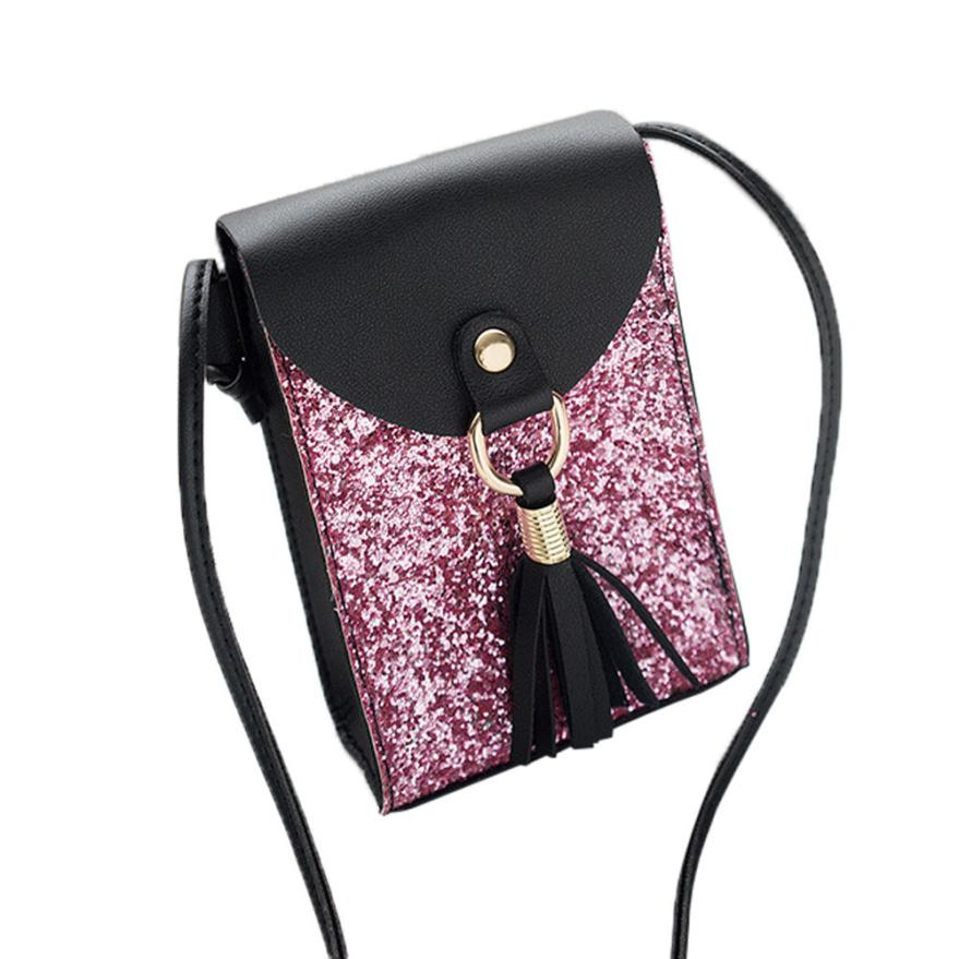 New Arrival Women Fashion Sequins Bag Tassels Cover Crossbody Mini Bag Women Shoulder Bag Handbag 2018 bolsos mujer sac a main S