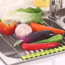 Foldable Roll Drain Rack Kitchen Sink Shelf Stainless Steel