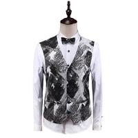MOGU 2019 Men's Spring New Classic Vests Slim Fit Comfortable Vest Gentlemen Fashion Floral Large Size 5XL Men's Waistcoat