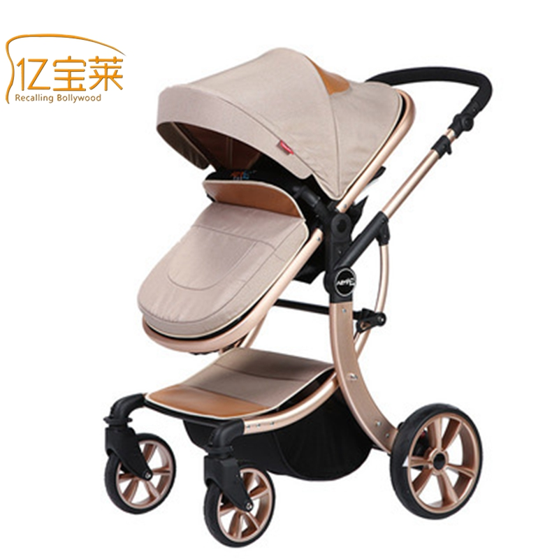 YIBAOLAI Baby prams baby cart high landscape can sit or lie shock Baby stroller Free shipping Aluminum alloy baby stroller high landscape four wheel shock cart can sit can lie
