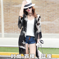 Lady Chiffon Shirt Blouse Summer Beach Sunscreen Shirt Tassel Air Conditioning Shirt Women Casual Tops Long Section Chiffon Coat