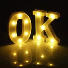 Светящийся 26 Английский алфавит светодиодный буквенный свет Креативный светодиодный аккумулятор ночник 16 см романтическое украшение для свадебной вечеринки