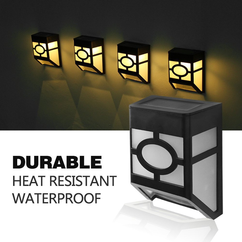 LED Modern Newest Type Durable PVC Solar Light  Wall Mount  Outdoors Wall Fence Solar Garden Path Landscape Fence Yard Lamp