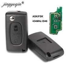 10X 434Mhz ASK/FSK 2 Buttons Flip Folding Key For Peugeot 107 207 307 307S 308 407 607 Citroen C2 C3 C4 Remote control Fob 2BT